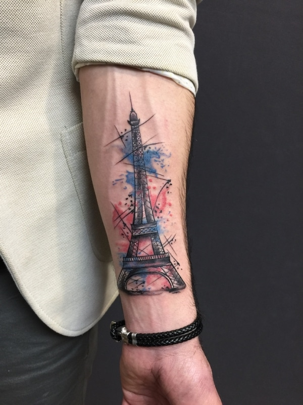 zone-tattoo- dilo- Watercolor- Eiffelturm