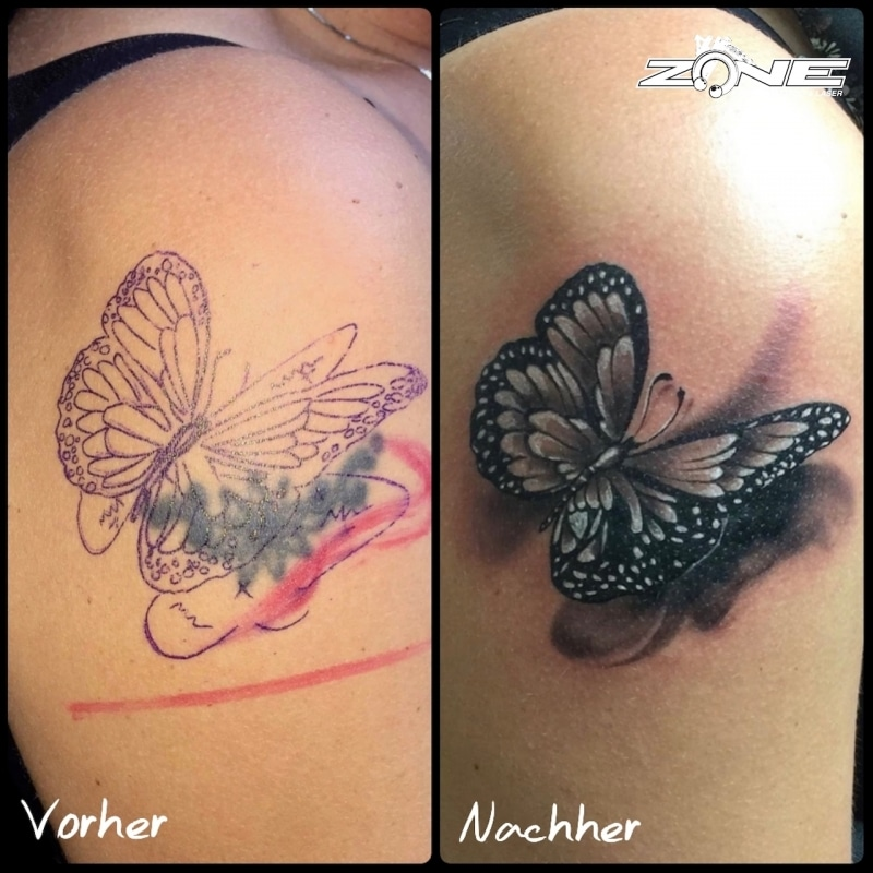Zone- Tattoo- Dilo -Cover Up - Schmetterling