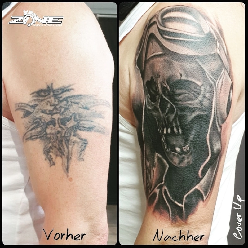 Zone- Tattoo-Volly- Totenkopf -cover up -skull