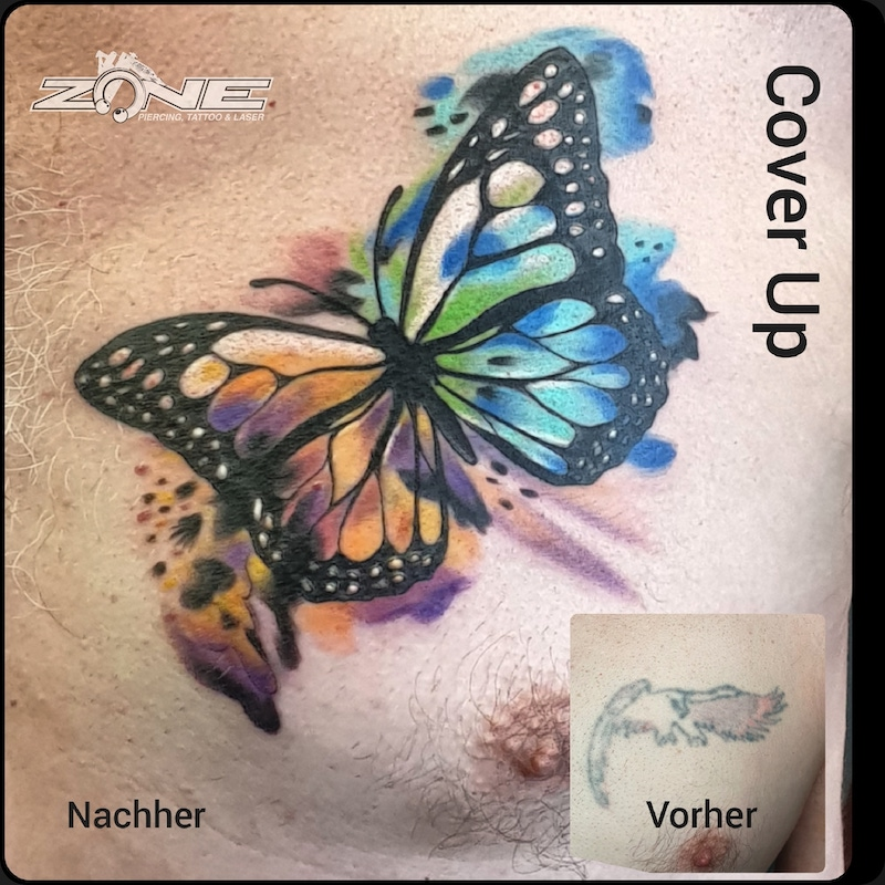 Zone -Tattoo -Volly -Watercolor -Schmetterling -Cover Up