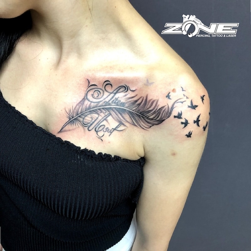 Zone -Tattoo -Dilo -Black and Grey -Feder -Vogel