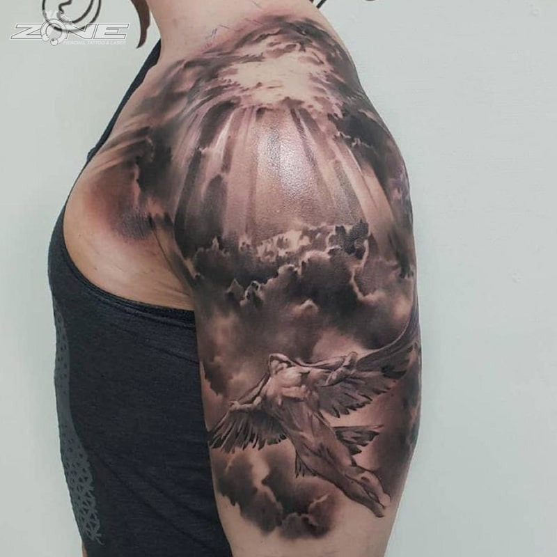 Zone - Tattoo - Black and Grey - Engel -Realistic - Wolken -Himmel - Andrey Lazarev