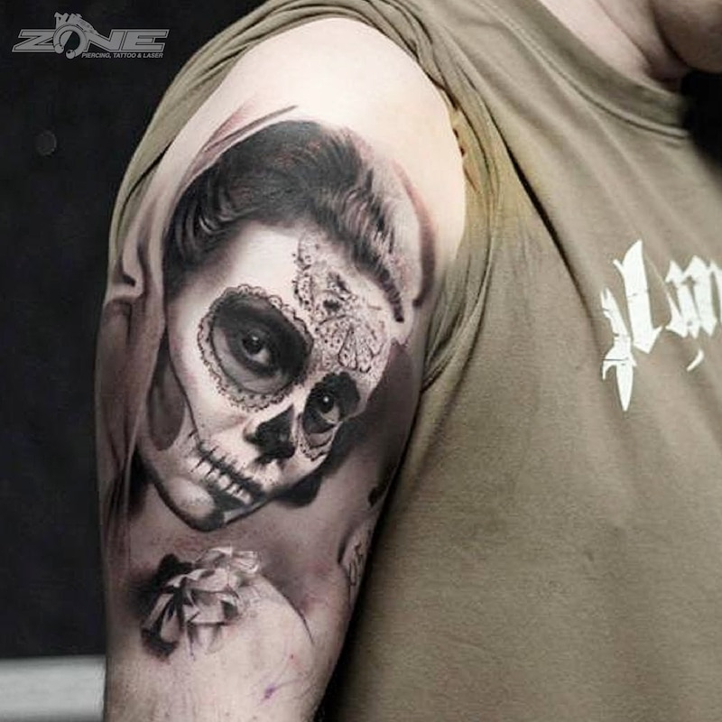 Zone - Tattoo - Black and Grey - La Catrina - 3D - Andrey Lazarev