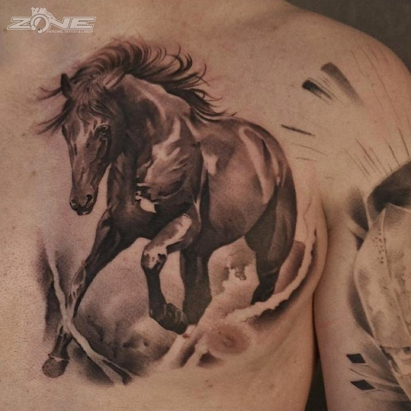 Zone - Tattoo - Black and Grey - Pferd- Andrey Lazarev
