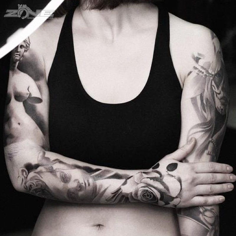 Zone - Tattoo - Black and Grey - Potrait -Sleeve - Andrey Lazarev