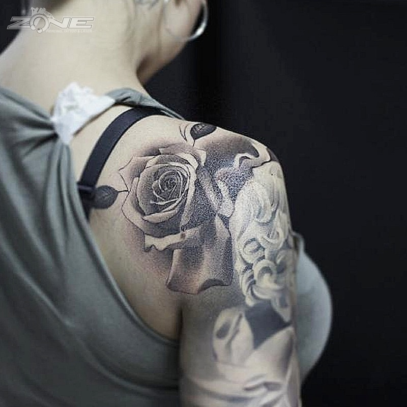 Zone - Tattoo - Black and Grey - Rosen -Realistic - Andrey Lazarev