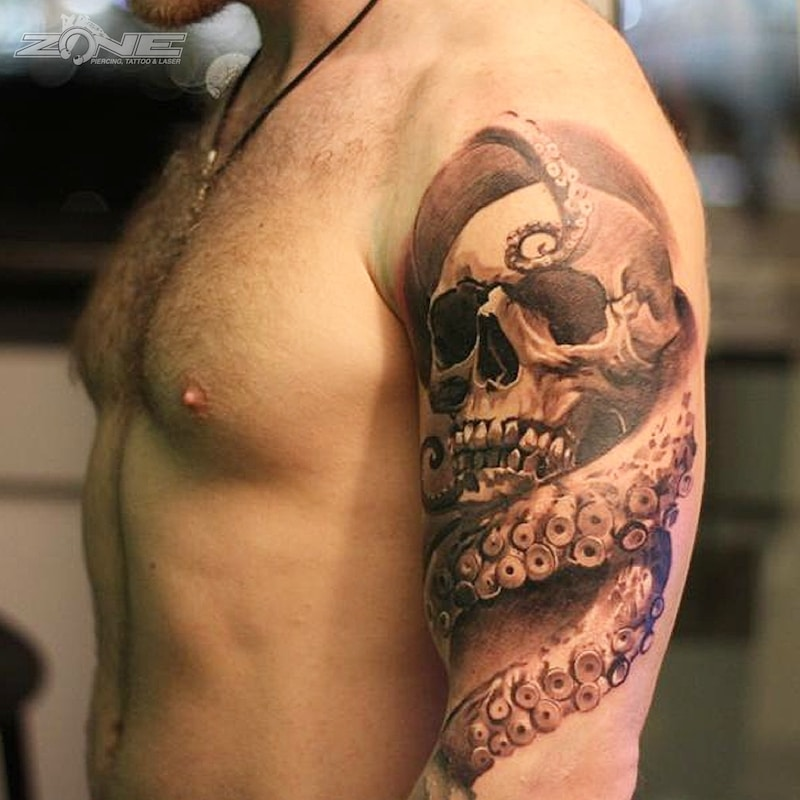 Zone - Tattoo - Black and Grey - Skull -Titenfisch -Andrey Lazarev