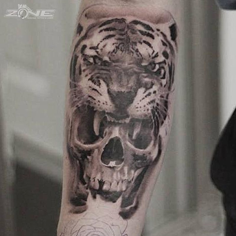 Zone - Tattoo - Black and Grey - Tiger -Skull - Totenkopf - Andrey Lazarev