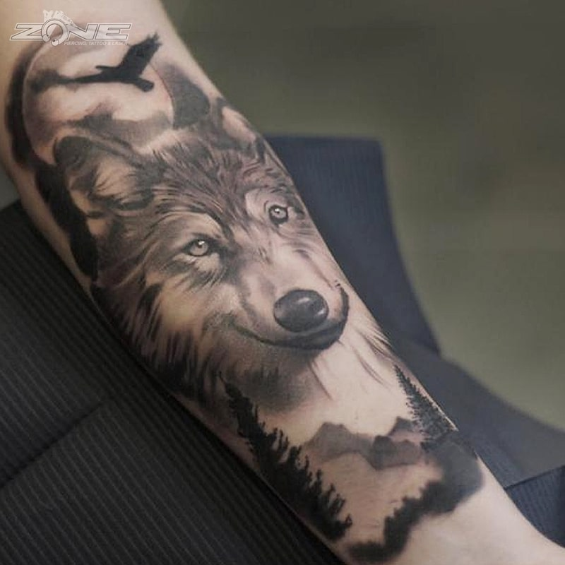 Zone - Tattoo - Black and Grey - Wolf Landschaft -Vögel -Andrey Lazarev
