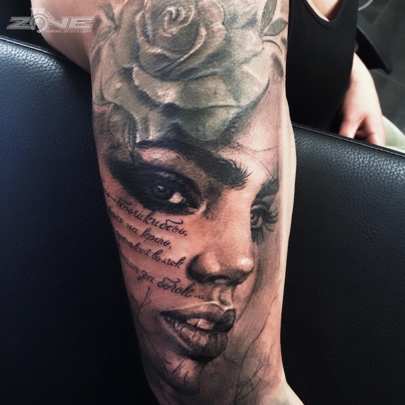 Zone - Tattoo -Potrait -Realistic -Black and Grey -Sleeve -Rose- Grigory Isaev