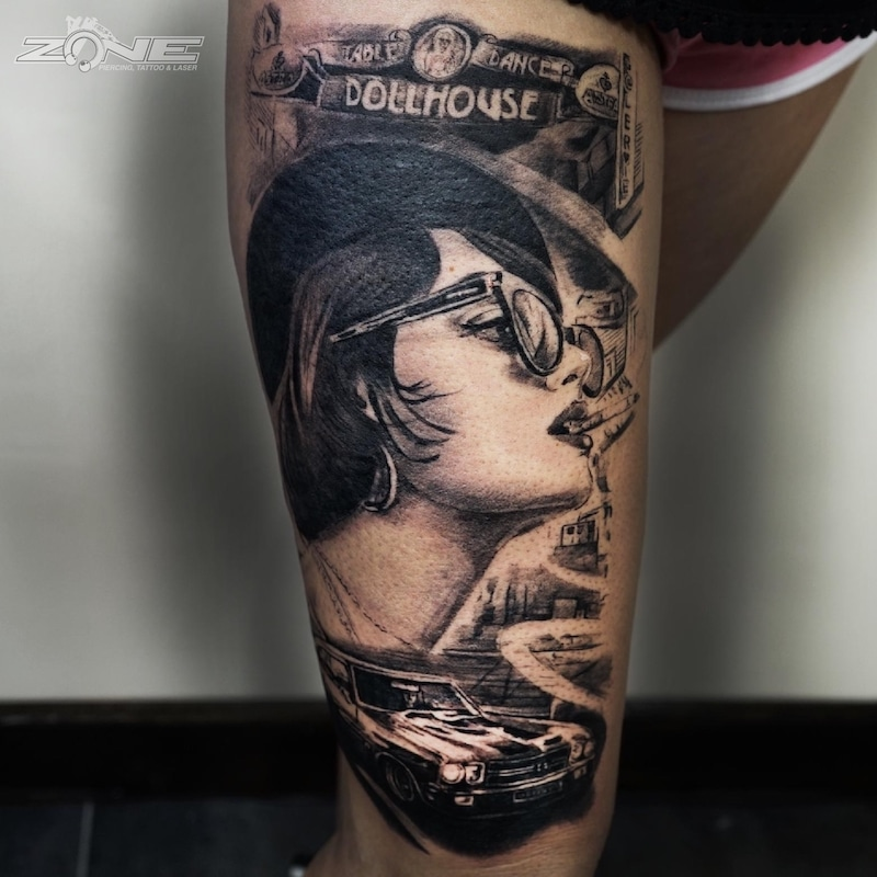 Zone - Tattoo -Potrait -Realistic -Black and Grey -Uhr -Sleeve - Oldmobil - Grigory Isaev